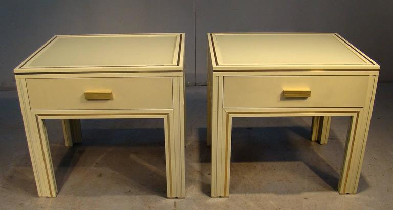 Pair of Side Tables in Lacquered Metal by Pierre Vandel For Sale 2