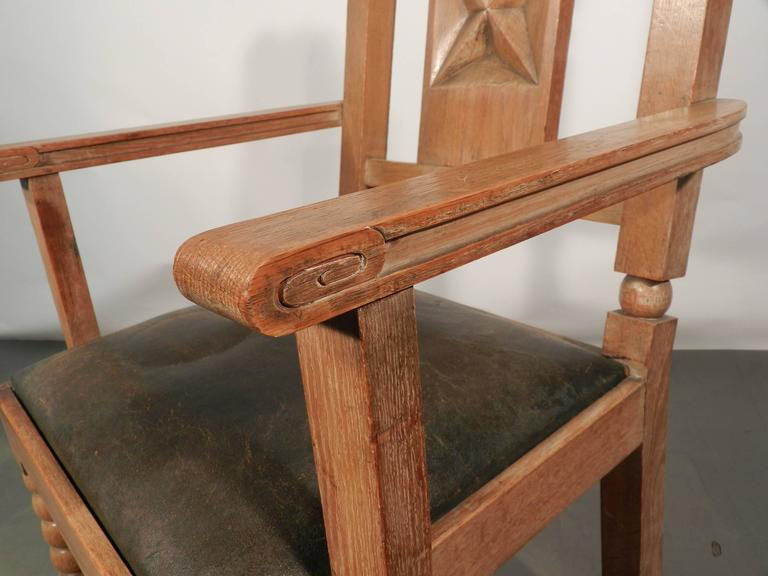 In the Style of Charles Dudouyt, Pair of Neo Rustique Oak Armchairs In Excellent Condition For Sale In Saint-Ouen, FR