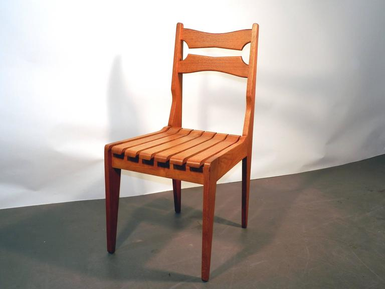Mid-20th Century Set of Six Oak Chairs by Guillerme et Chambron for Votre Maison, circa 1960 For Sale
