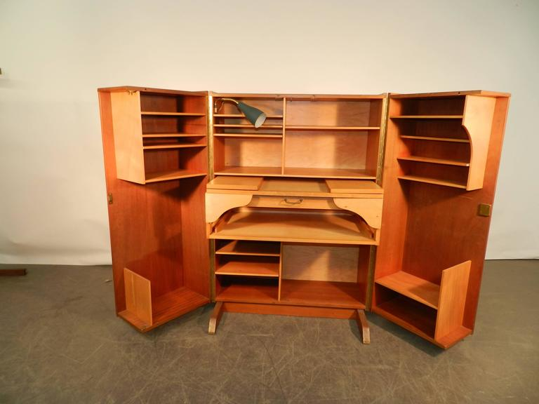 1950 Compact Home Office Desk In Mahogany And Blond Wood For Sale At