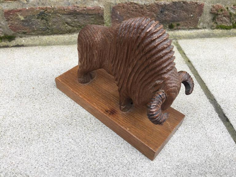 French Pair of Art Deco Book End in Sculpted Wood Representing Bisons For Sale