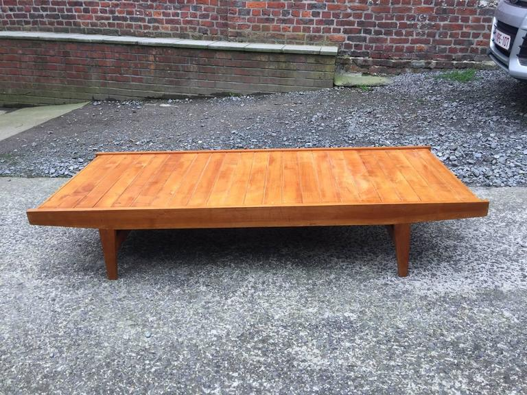 French 1950s Daybed in Pine, Seat and Cushion Covered with Velvet For Sale