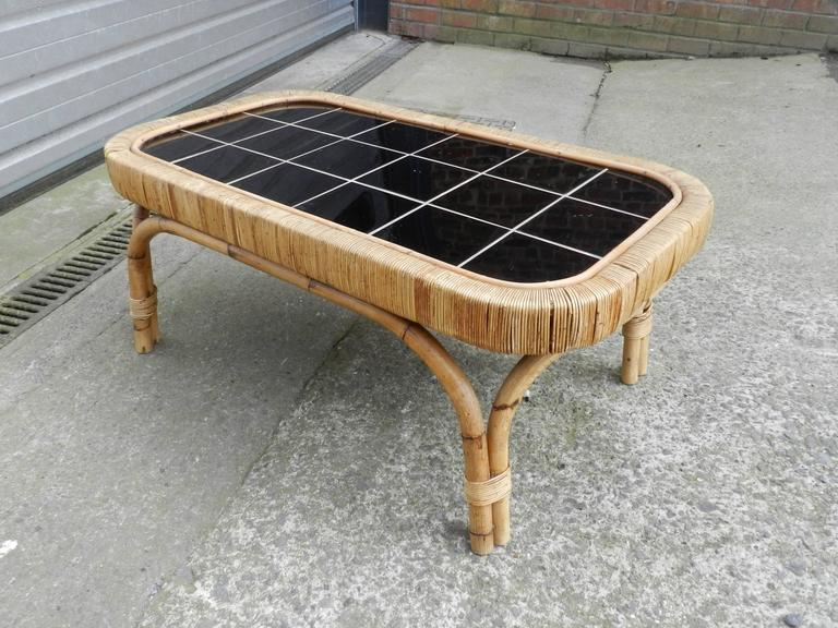 Rattan And Black Ceramic Coffee Table Circa 1950 For Sale At 1stdibs