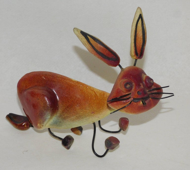 Accolay, three animals in wire and ceramic: cat, pelican and rabbit. Signed.