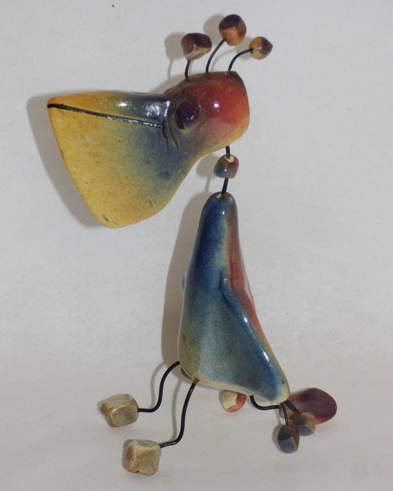 Mid-Century Modern Accolay, Three Animals in Wire and Ceramic Cat, Pelican and Rabbit, Signed For Sale