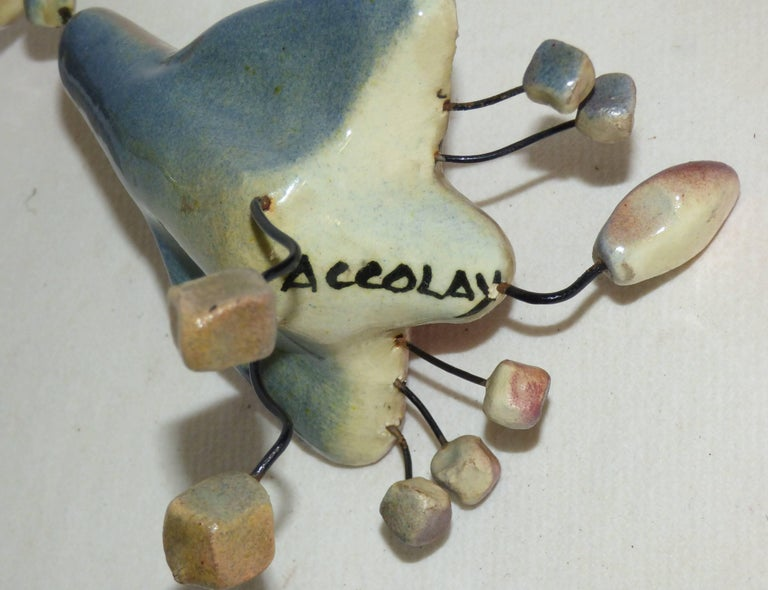 Mid-20th Century Accolay, Three Animals in Wire and Ceramic Cat, Pelican and Rabbit, Signed For Sale