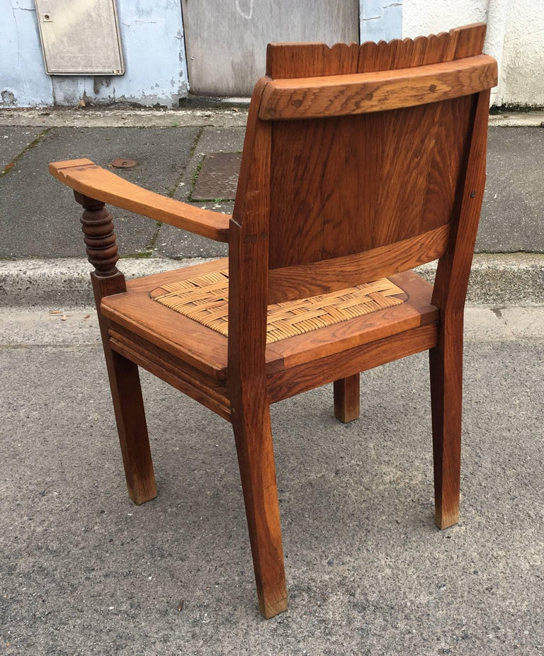 Charles Dudouyt, Pair of Armchairs in Solid Oak and Wicker 6