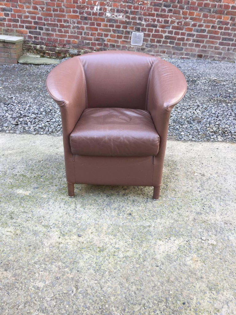 Modern Paolo Piva, 3 leather armchairs, Edition WITTMANN circa 1980 For Sale