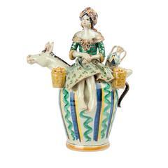 Peasant Woman Whistle Caltagirone Ceramic Vase by Alessandro Iudici