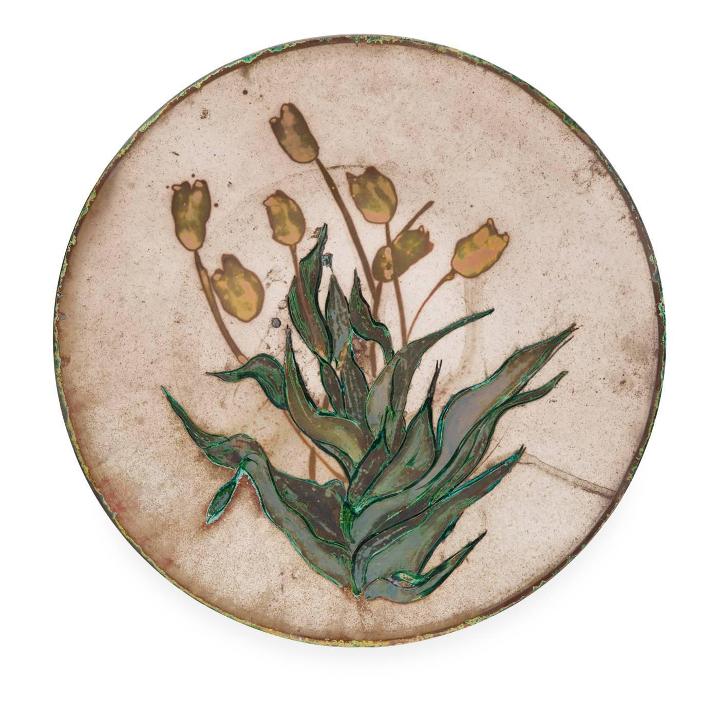 Yellow flowers romantic decorative plate by paola for Alex paint porcelain jewelry
