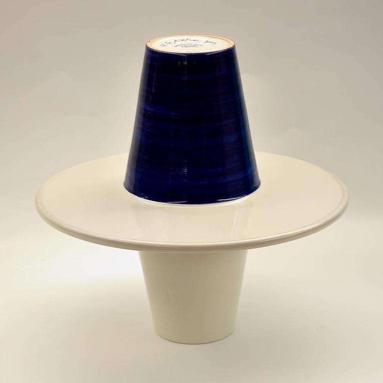 Italian Blue and White Vase by Ugo La Pietra