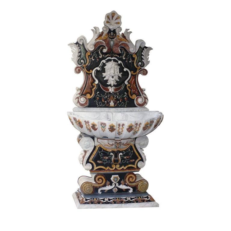 Sicily baroque style wall fountain by italian marble for Spanish style fountains for sale