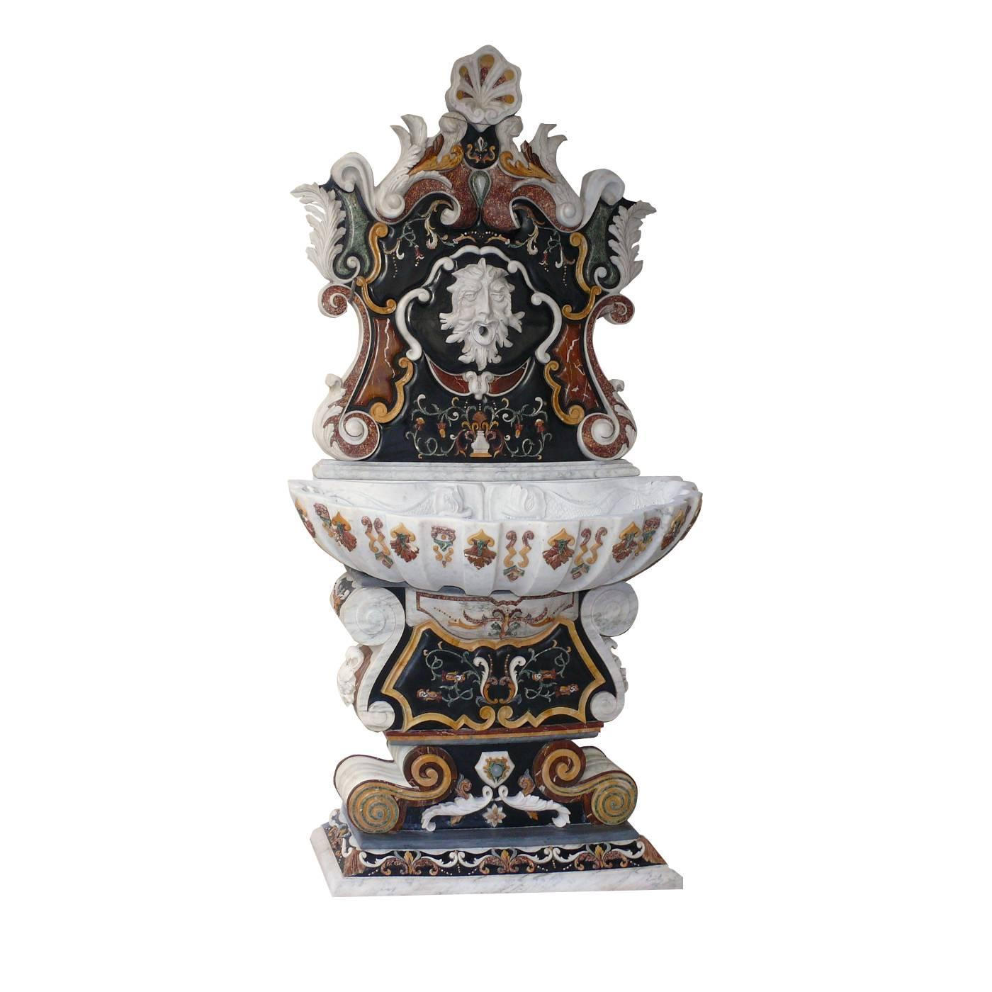 Sicily Baroque Style Wall Fountain By Italian Marble