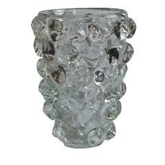 Sasso Clear Murano Glass Vase