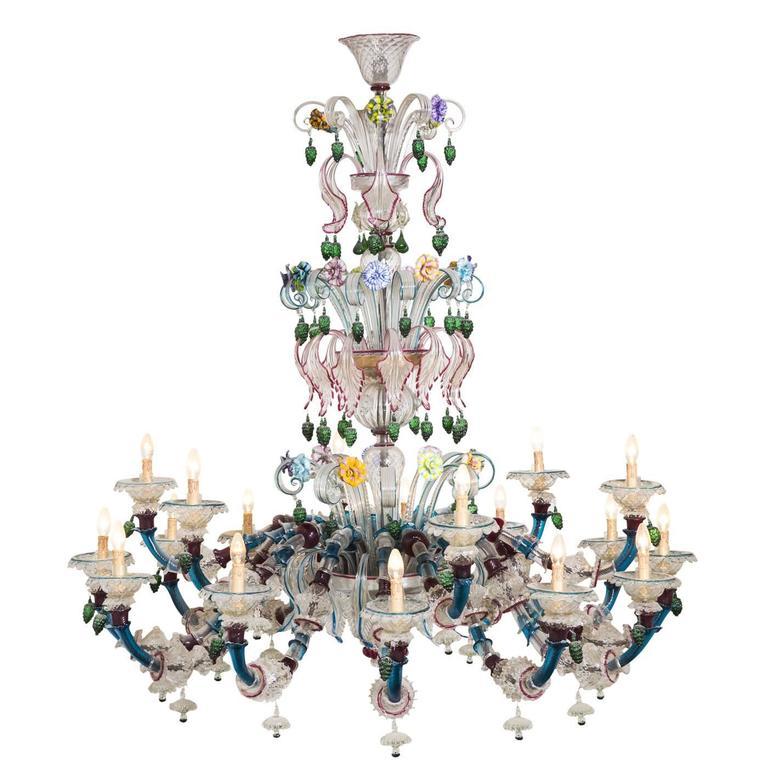Semi rezzonico murano glass chandelier for sale at 1stdibs - Murano glass lighting ...