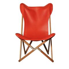 Red Leather Tripolina Chair
