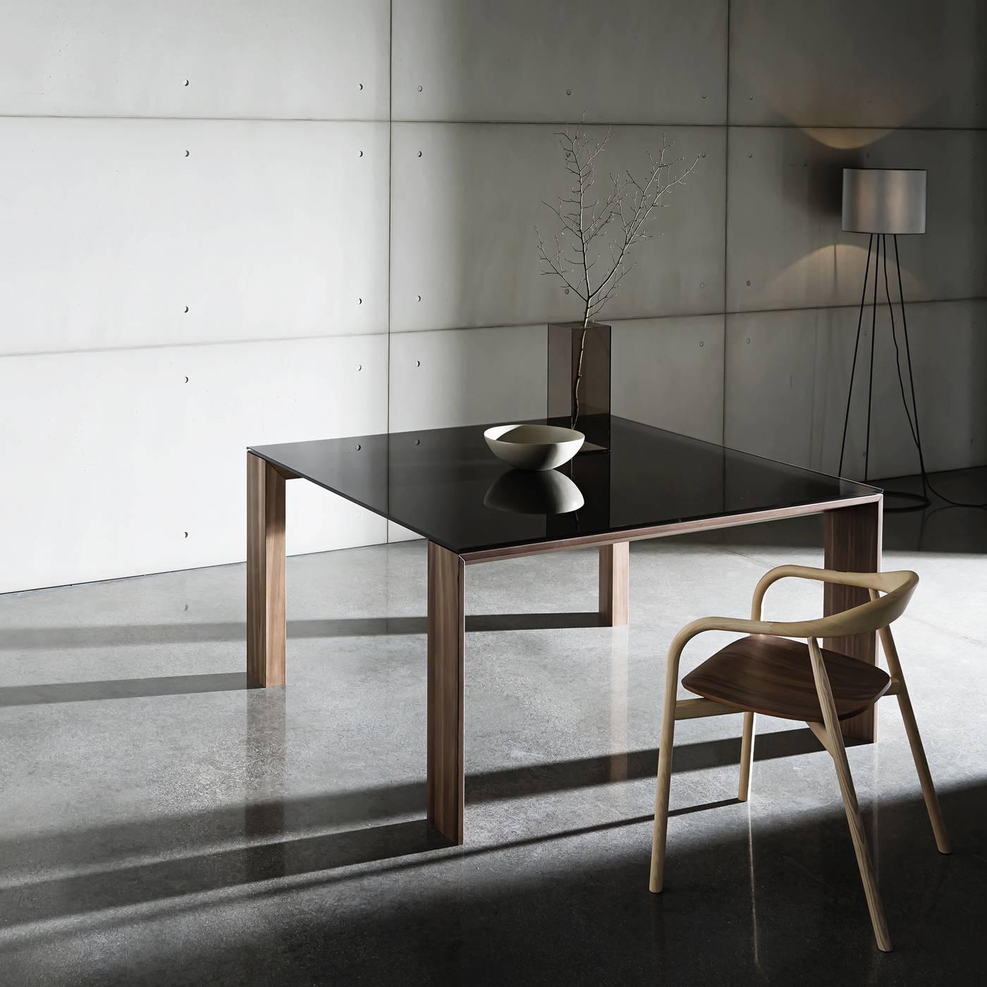 Glass and walnut table for sale at 1stdibs for Loft via savona 97