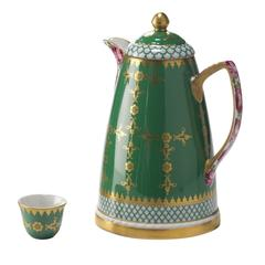 Set of Small Dallah Thermos and Six Finjan Cups