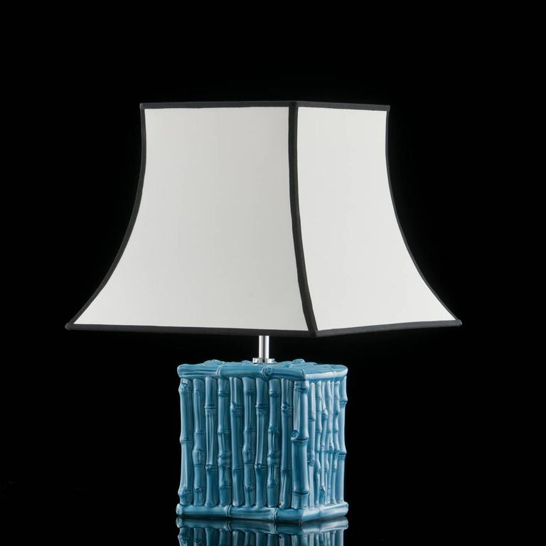 Italian Bamboo Turquoise Desk Lamp For Sale