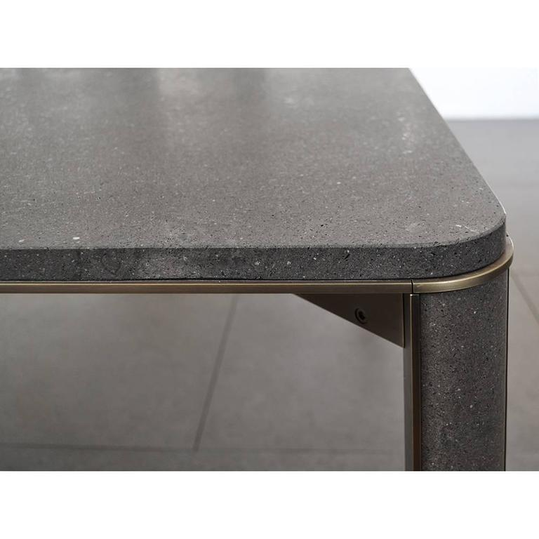 Italian Gregorio Dining Table in Basaltina Marble For Sale