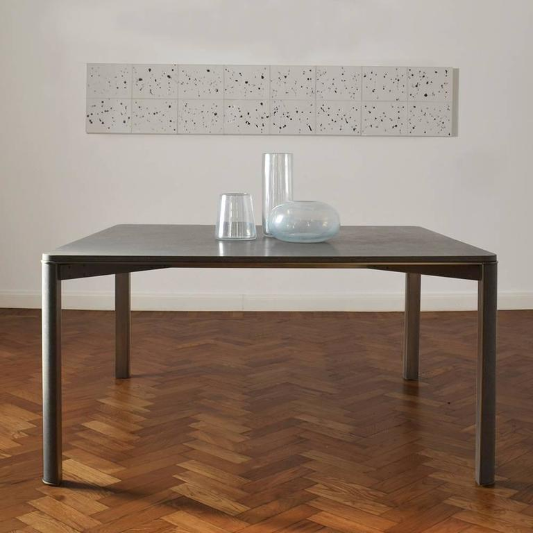 Contemporary Gregorio Dining Table in Basaltina Marble For Sale
