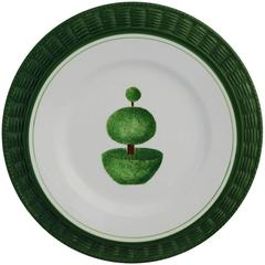 Set of Four Topiary Green Plates