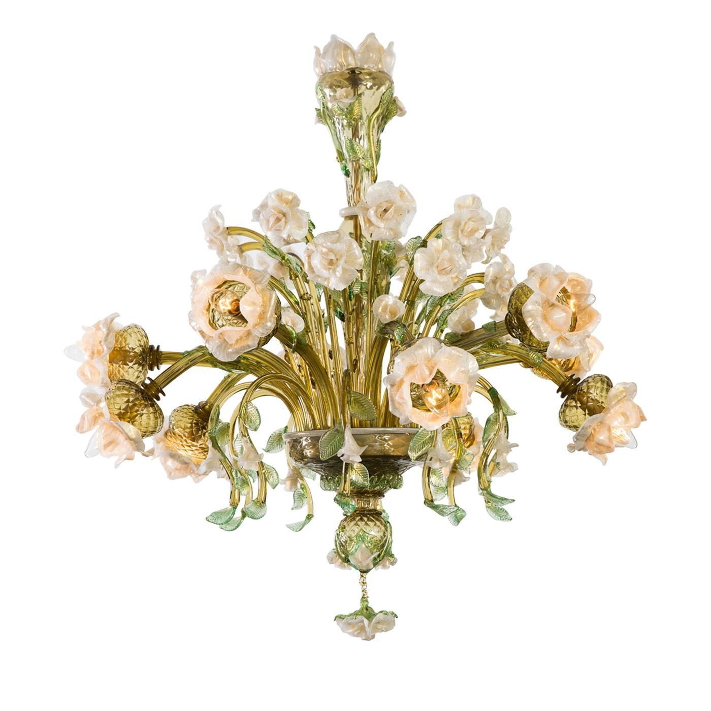 Rosa Murano Glass Chandelier
