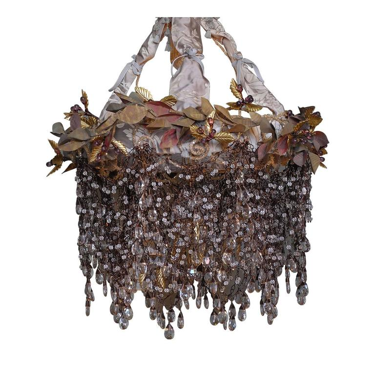 Opera chandelier for sale at 1stdibs this whimsical chandelier has a structure of iron cable with decorations in brass and fabric mozeypictures Image collections