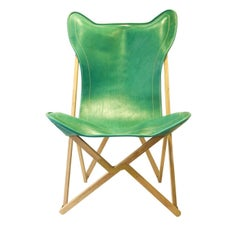 Green Leather Tripolina Chair