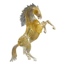 Large Gold Glass Rearing Horse