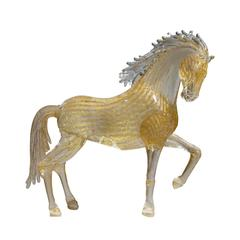 Large Gold Glass Prancing Horse