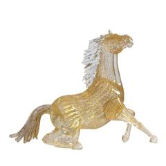 Small Gold Glass Sitting Horse Statuette