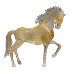 Small Gold Glass Prancing Horse