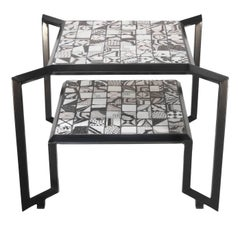 Black and White Spider Mosaic Tile Table