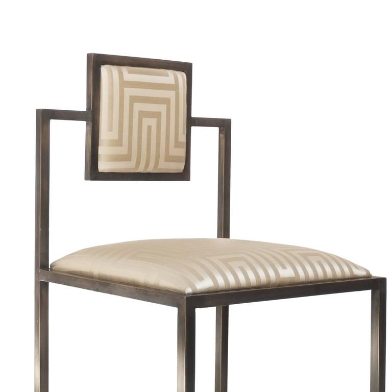 Elegant Champagne Square Chair With A Sophisticated Shape 2