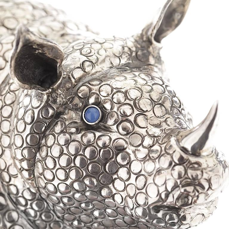 Italian The Rhino Sterling Silver Lighter For Sale