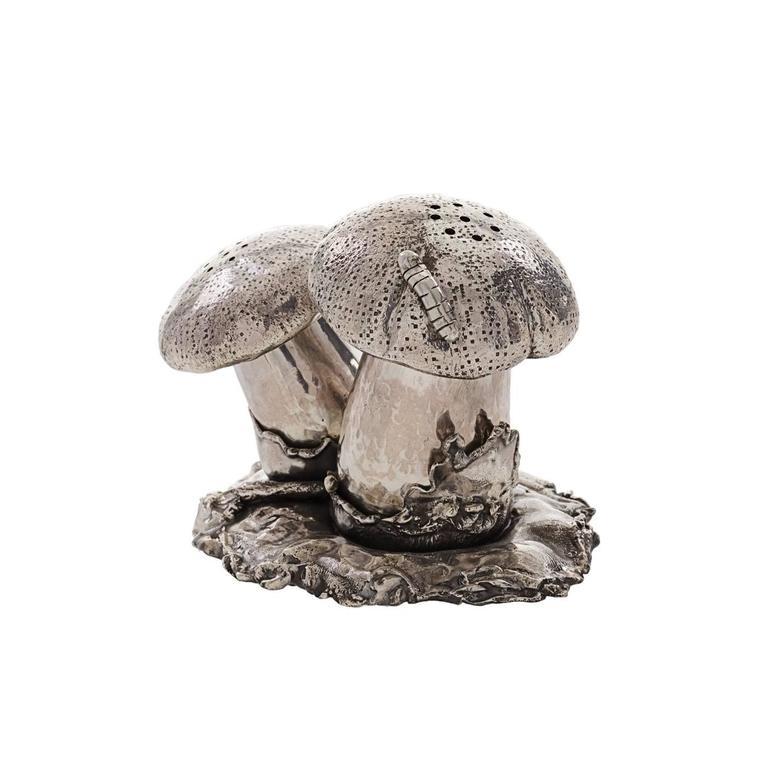 Italian Mushroom Sterling Silver Salt and Pepper Cellar For Sale