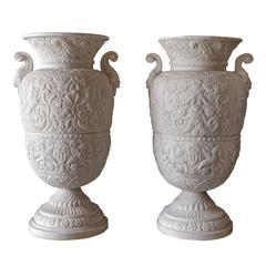 Set of Two Classical Marble Vases with Floral Motifs