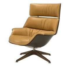 Sophisticated Light Brown Leather Armchair