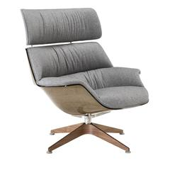 Sophisticated Grey Leather Lounge Chair