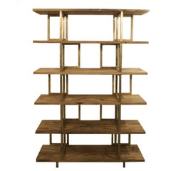 Timeless Wood and Brass 'Doppia C' Bookshelf