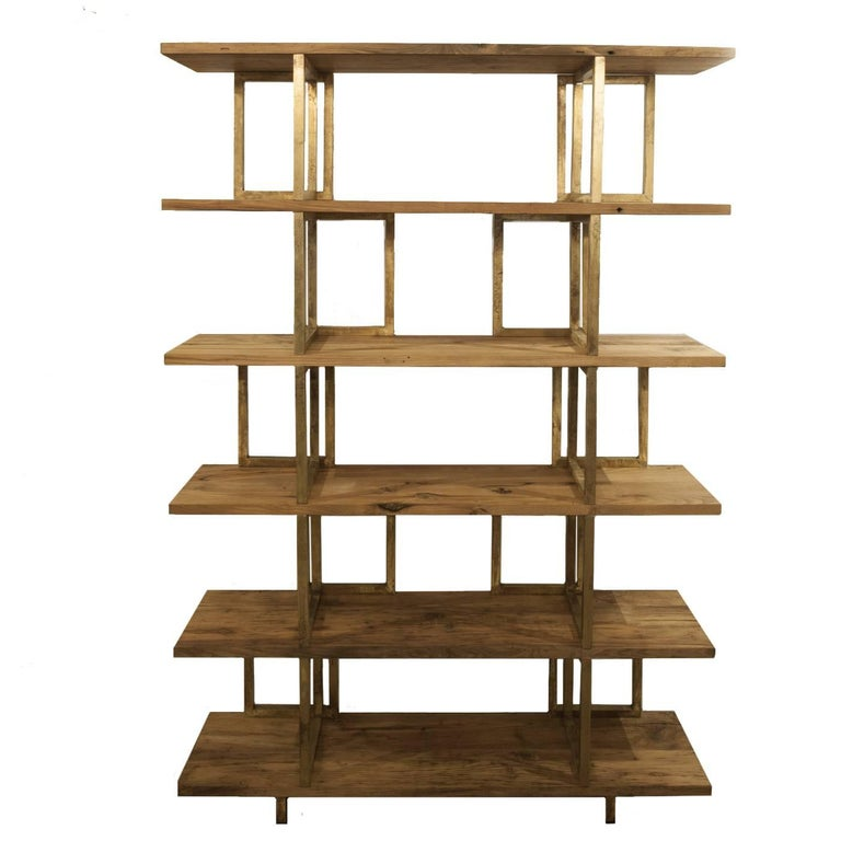 Timeless Wood and Brass 'Doppia C' Bookshelf For Sale