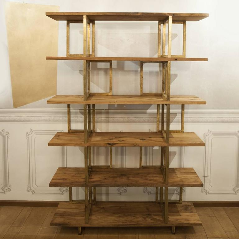 Other Timeless Wood and Brass 'Doppia C' Bookshelf For Sale