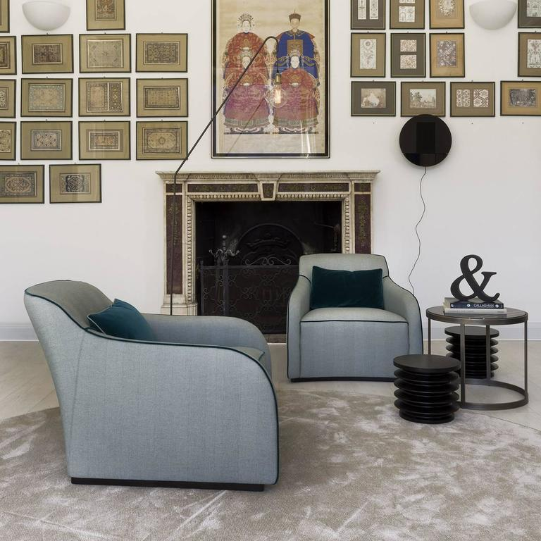 Outstanding Pale Blue Armchair with a Sinuous Design 4