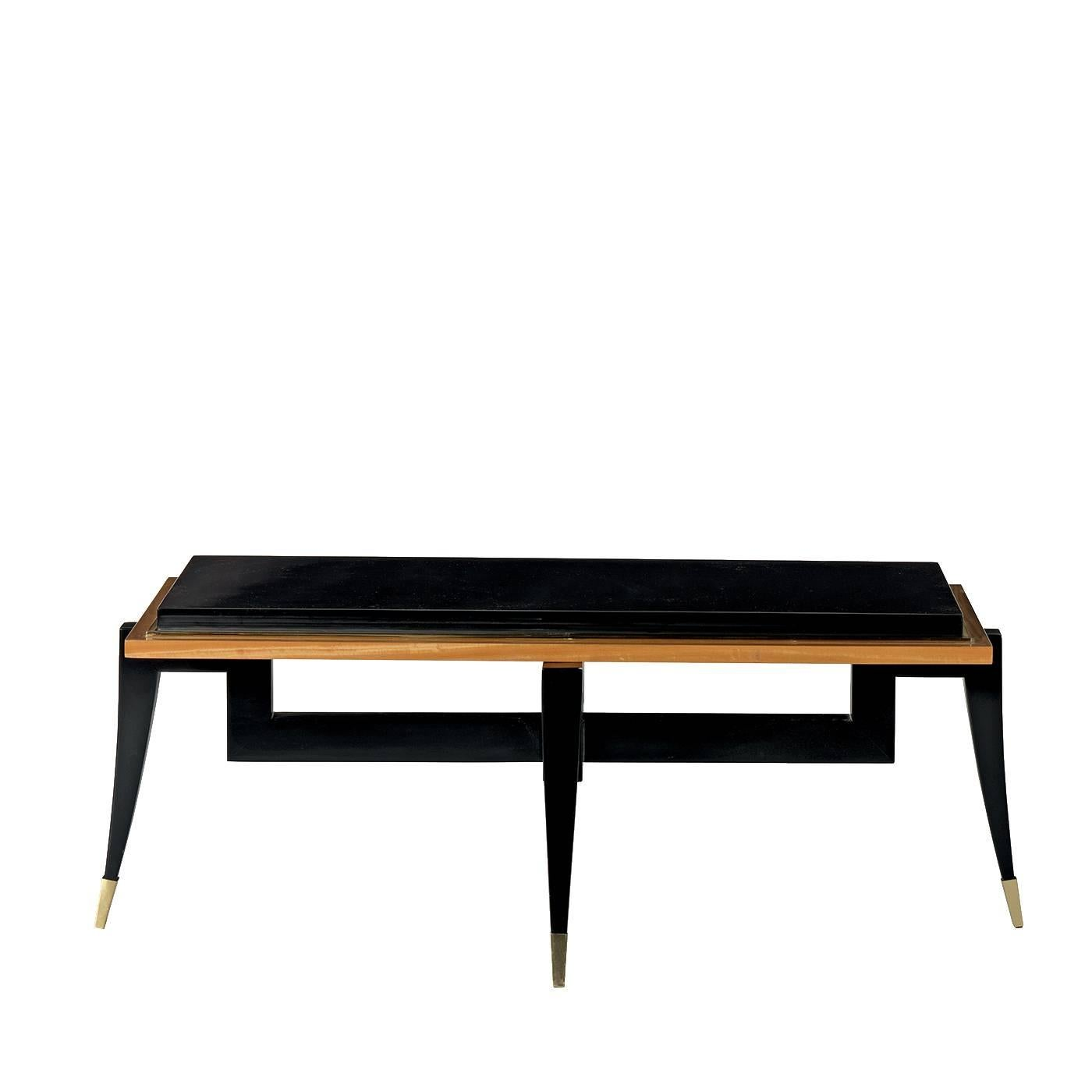 Citronnier wood coffee table with black finish for sale at 1stdibs