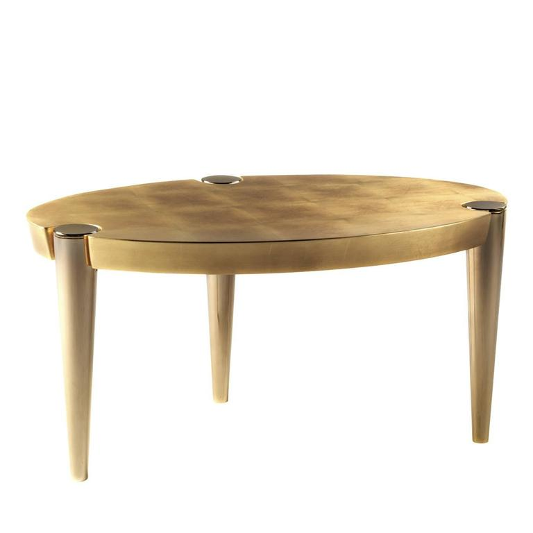 Exquisite metal and gold leaf 39 ottaviano 39 coffee table for sale at 1stdibs Gold metal coffee table