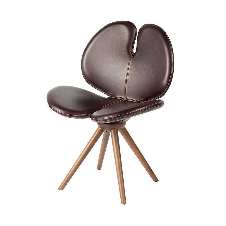 Elegant Leather And Wood New Pans 232 Chair For Sale At 1stdibs