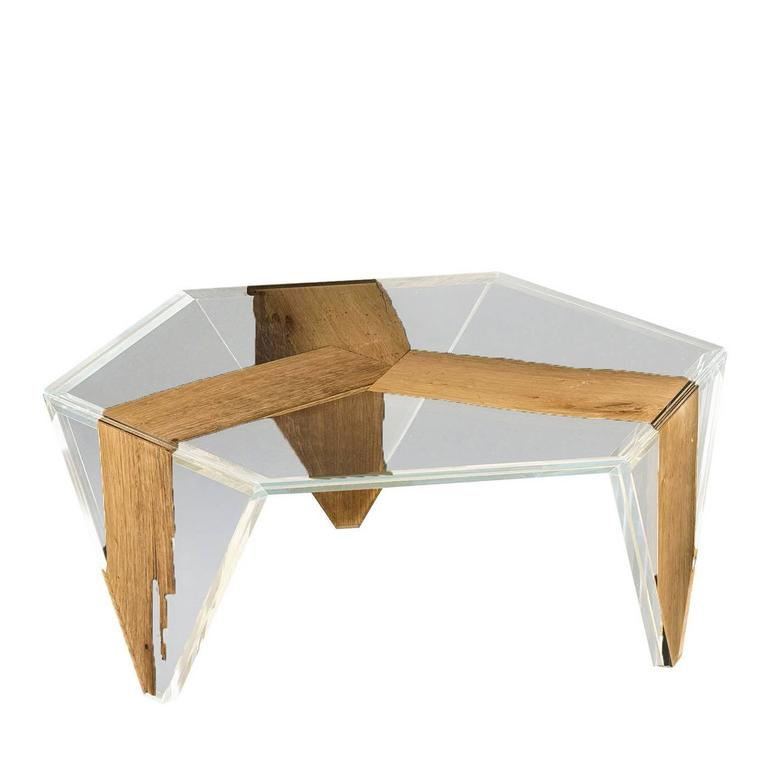 Ruche Venezia Glass and Wood Low Coffee Table For Sale
