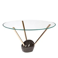 Sophisticated Round Glass Top Dining Table by Giorgio Ragazzini