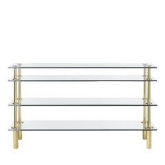 Sophisticated Console in Glass and Brass